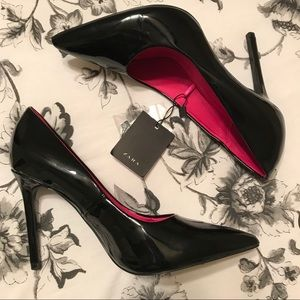 NWT Zara Black Patent Leather Stiletto Heels